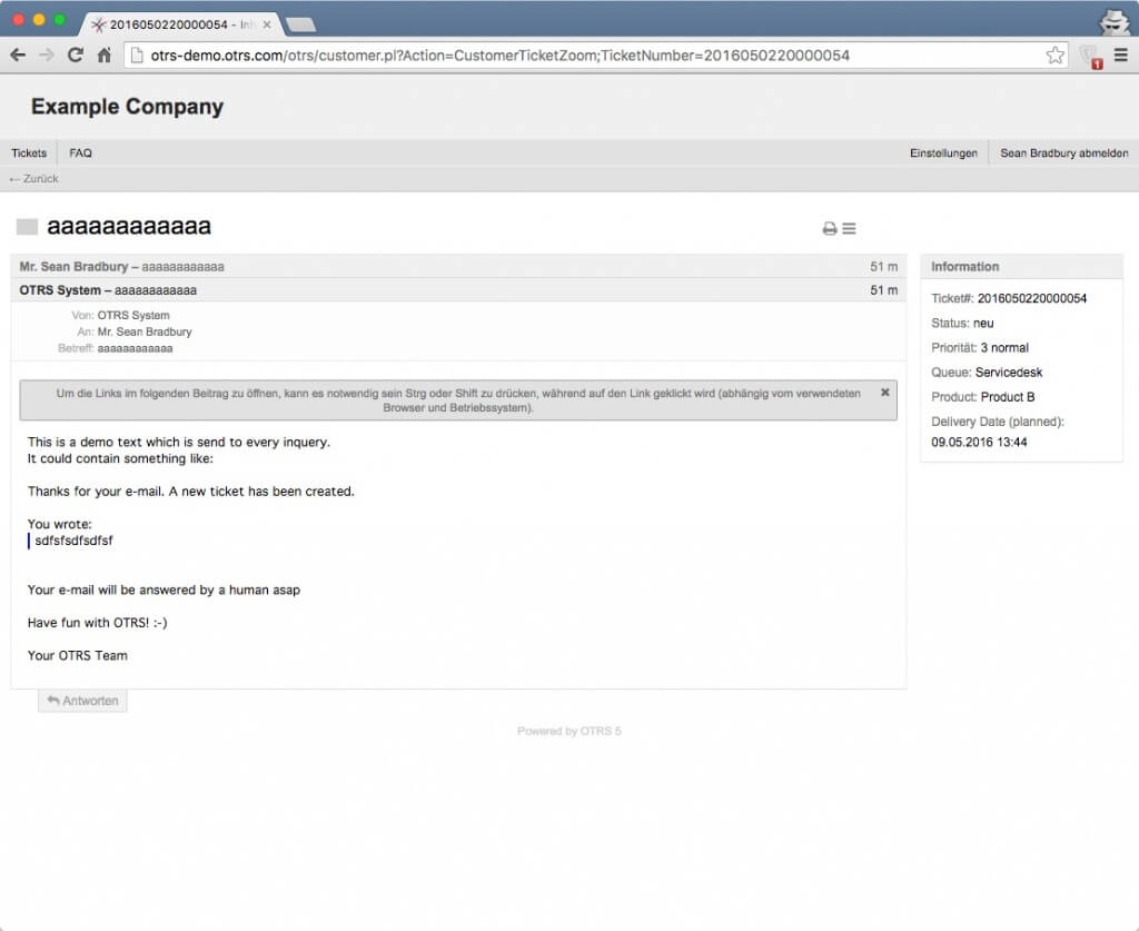OTRS Ticketing System Open Source BT