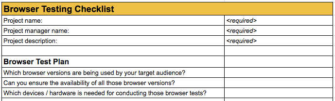 browser testing checklist