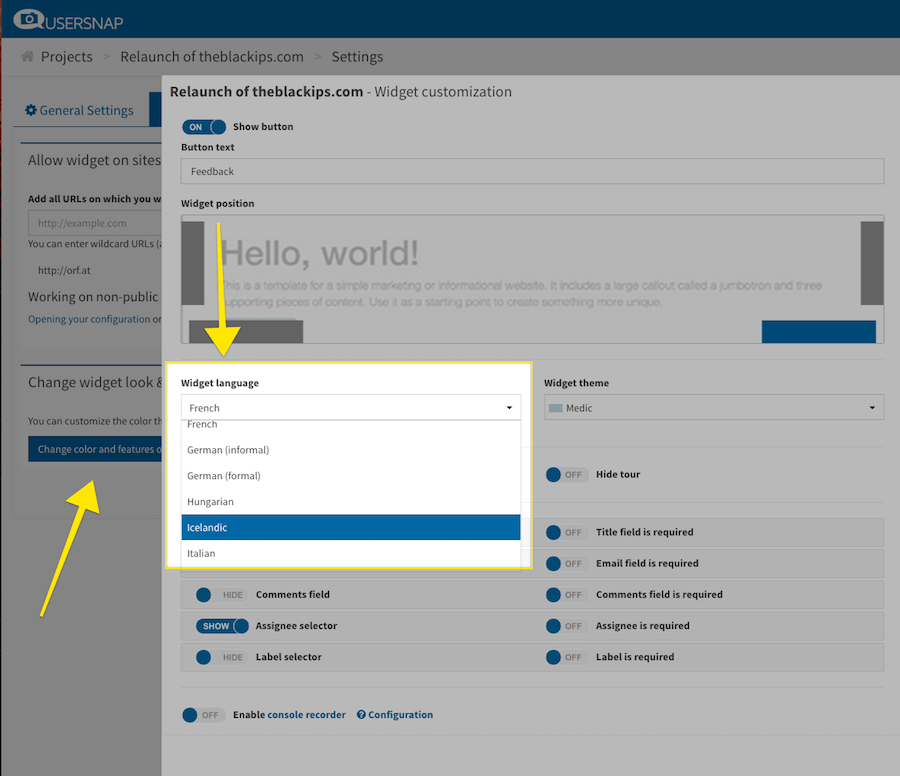 feedback widget language settings