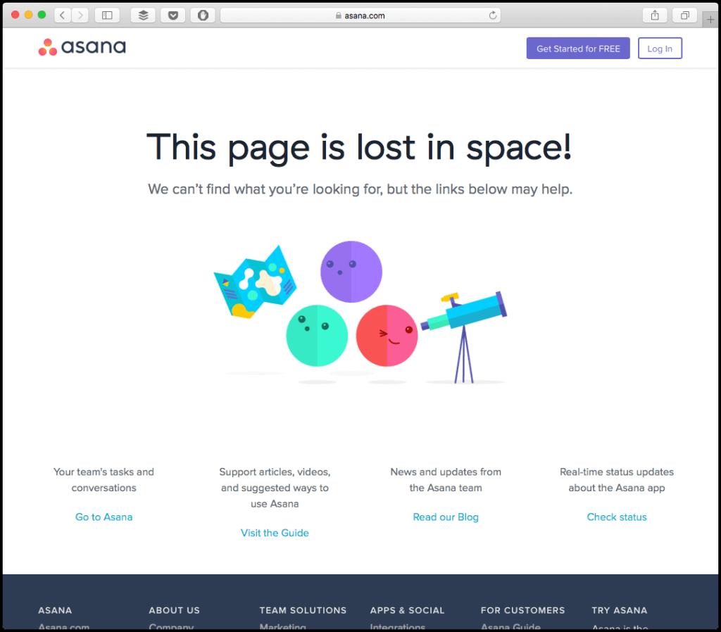 asana 404 webpage