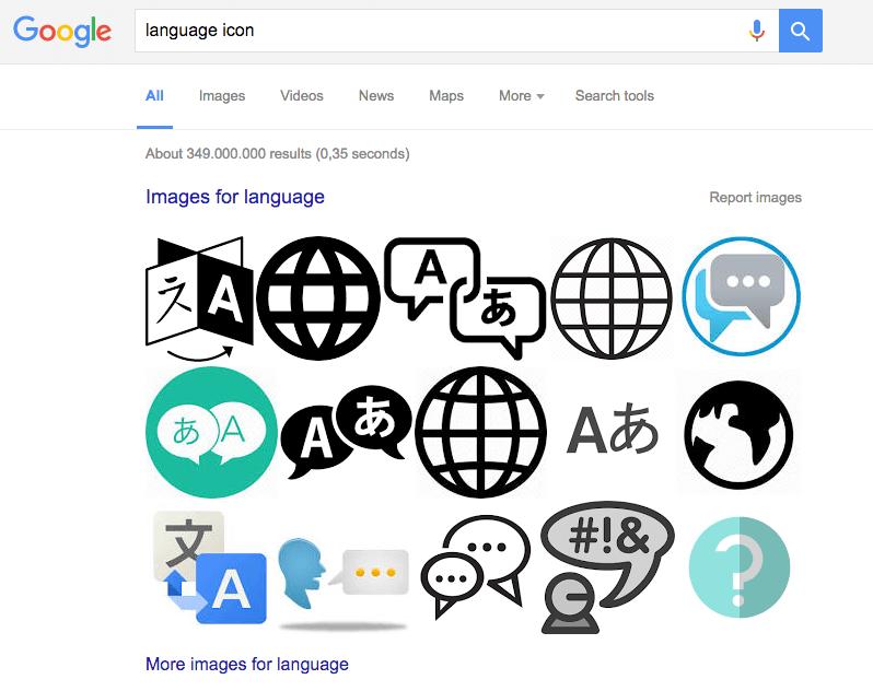 language icon google search