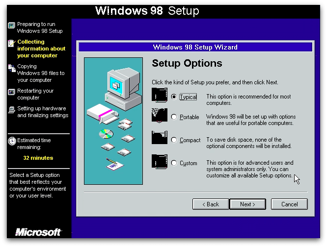 windows 98 user onboarding setup
