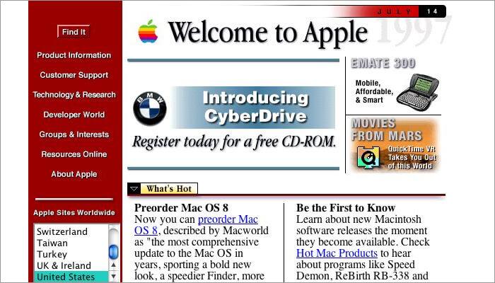 alte Apple Website