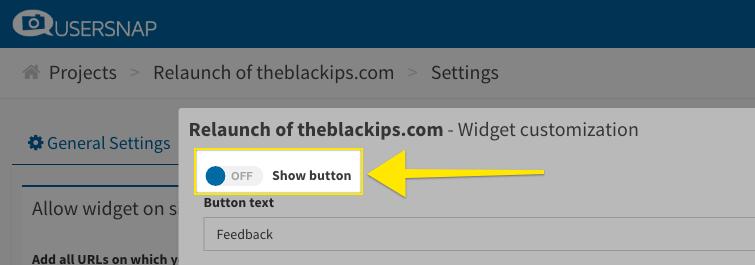 Usersnap Feedback-Button verstecken