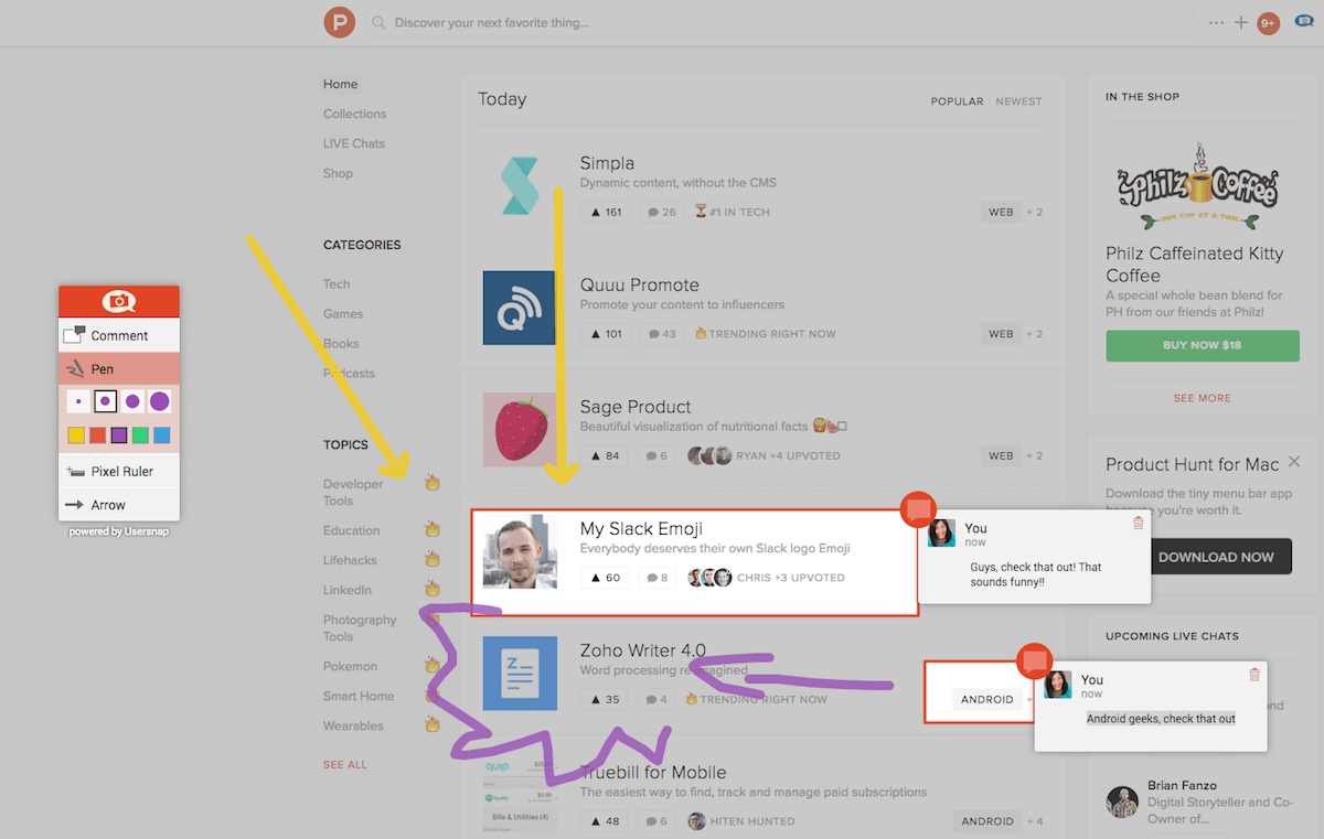 Usersnap Screenshot auf jeder Website erstellen